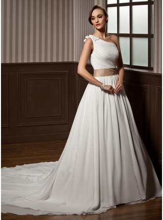 A-Line/Princess One-Shoulder Chapel Train Chiffon Wedding Dress With Ruffle Sash Beading Flower(s)