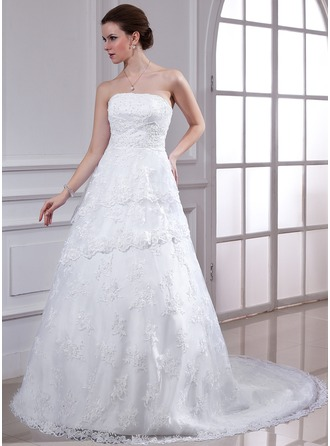 A-Line/Princess Strapless Chapel Train Satin Lace Wedding Dress With Beading