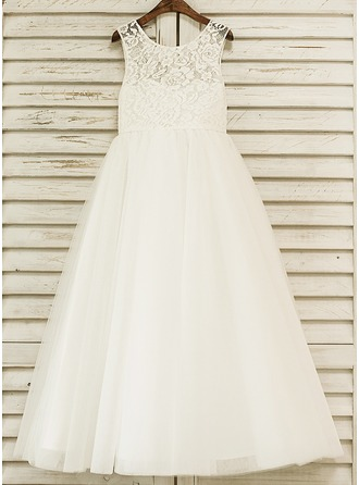 A-Line/Princess Floor-length Flower Girl Dress - Satin/Tulle/Lace Sleeveless Scoop Neck