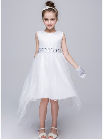 Princess Court Train Flower Girl Dress - Tulle Sleeveless Scoop Neck With Sash/Rhinestone