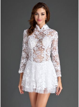A-Line/Princess High Neck Short/Mini Lace Cocktail Dress With Ruffle