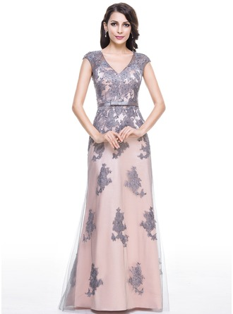 Trumpet/Mermaid V-neck Floor-Length Tulle Charmeuse Evening Dress With Beading Appliques Lace Sequins Bow(s)