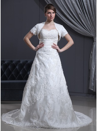 A-Line/Princess Sweetheart Chapel Train Satin Wedding Dress With Beading Appliques Lace