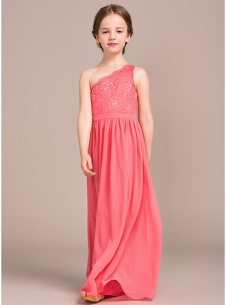A-Line/Princess Floor-length Flower Girl Dress - Chiffon/Lace Sleeveless One-Shoulder