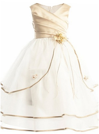 Ball-Gown Cotton Blends Girl Dress With Flowers