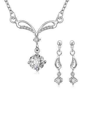 Beautiful Silver Plated With Rhinestone Ladies' Jewelry Sets
