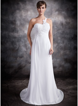 A-Line/Princess One-Shoulder Chapel Train Chiffon Wedding Dress With Ruffle Appliques Lace