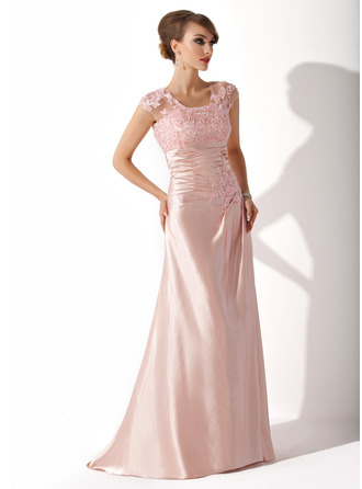 A-Line/Princess Scoop Neck Sweep Train Tulle Charmeuse Mother of the Bride Dress With Ruffle Lace Beading Sequins