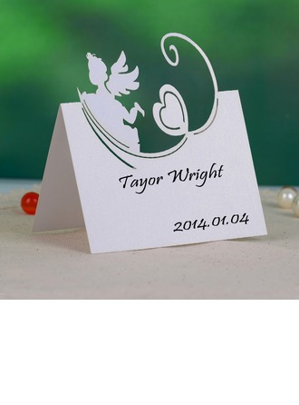 Angel and Heart Pearl Paper Place Cards