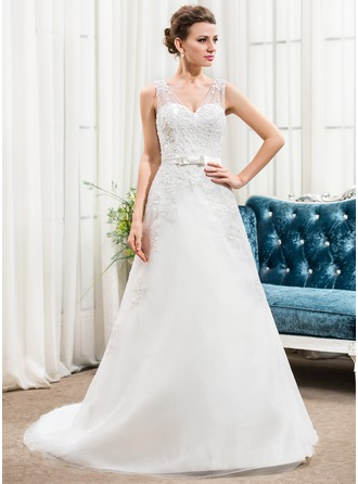 A-Line/Princess V-neck Chapel Train Satin Tulle Wedding Dress With Beading Appliques Lace Sequins Bow(s)