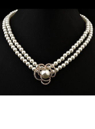 Gorgeous Pearl With Austrian Crystal Ladies' Necklaces