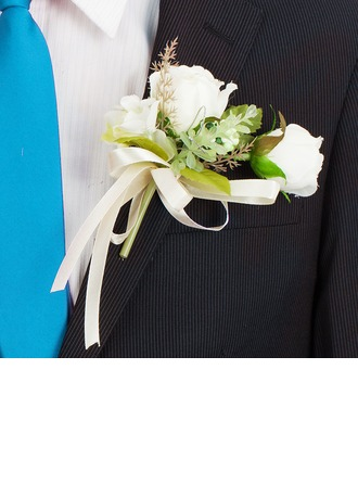 Lovely Round Artificial Silk Boutonniere/Pin-on Corsage/Men's Accessories