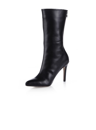 Leatherette Stiletto Heel Mid-Calf Boots shoes