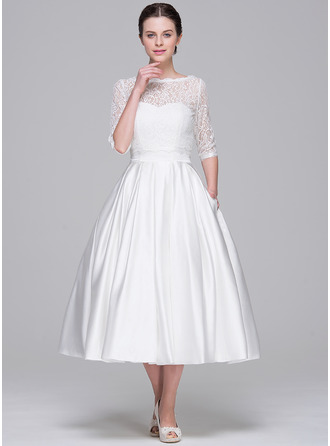A-Line/Princess Sweetheart Tea-Length Satin Wedding Dress