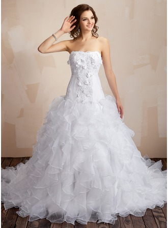 Ball-Gown Sweetheart Chapel Train Organza Satin Wedding Dress With Lace Beading Flower(s) Cascading Ruffles