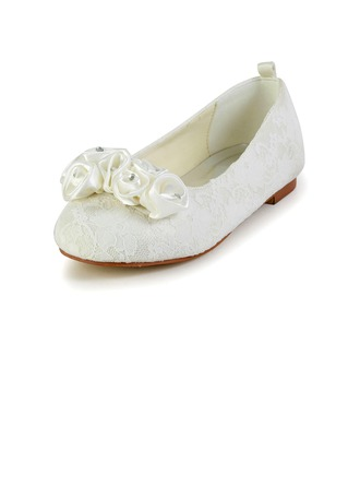 Kids' Lace Satin Flat Heel Closed Toe Flats With Satin Flower