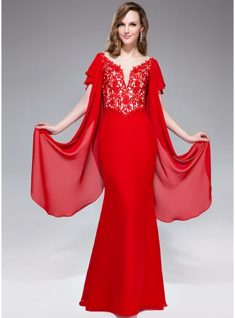 Trumpet/Mermaid V-neck Floor-Length Chiffon Lace Evening Dress With Beading Appliques Lace Sequins Cascading Ruffles