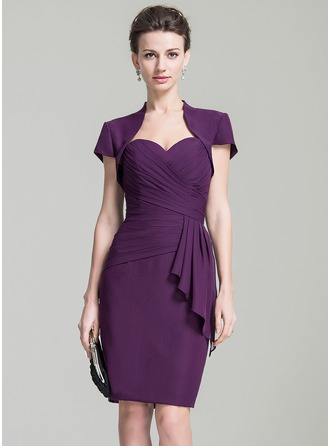 Sheath/Column Sweetheart Knee-Length Chiffon Mother of the Bride Dress With Cascading Ruffles