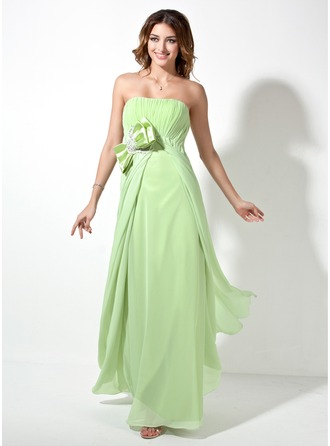 Empire Strapless Floor-Length Chiffon Evening Dress With Ruffle Sash Beading Bow(s)