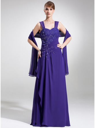 A-Line/Princess Sweetheart Floor-Length Chiffon Lace Mother of the Bride Dress With Ruffle Beading Sequins