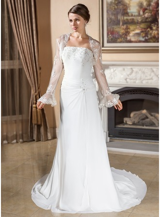 A-Line/Princess Strapless Court Train Chiffon Wedding Dress With Ruffle Lace Beading