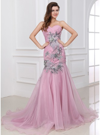 Trumpet/Mermaid One-Shoulder Court Train Organza Evening Dress With Ruffle Appliques