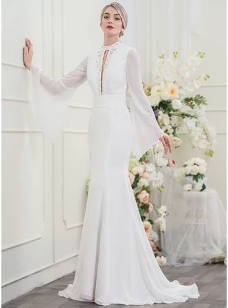 Trumpet/Mermaid High Neck Sweep Train Chiffon Wedding Dress With Beading Sequins