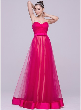 A-Line/Princess Sweetheart Floor-Length Prom Dress With Ruffle Bow(s)