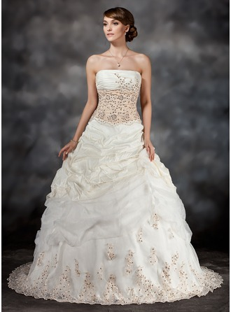 Ball-Gown Strapless Sweep Train Taffeta Wedding Dress With Ruffle Lace Sequins