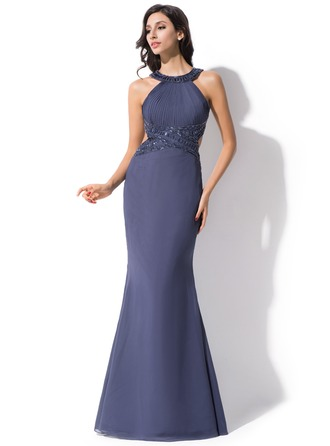 Trumpet/Mermaid Scoop Neck Floor-Length Chiffon Evening Dress With Ruffle Beading