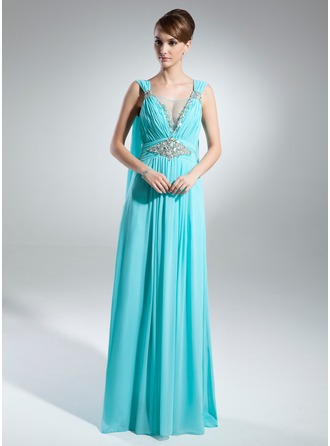 A-Line/Princess Scoop Neck Watteau Train Chiffon Mother of the Bride Dress With Ruffle Beading