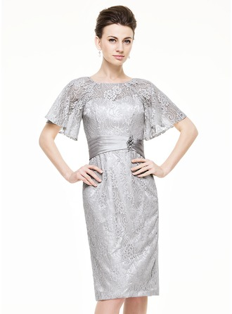 Sheath/Column Scoop Neck Knee-Length Charmeuse Lace Mother of the Bride Dress With Ruffle Beading Sequins