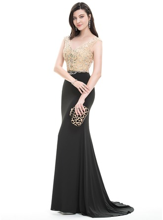 Trumpet/Mermaid V-neck Sweep Train Jersey Prom Dress With Beading Sequins