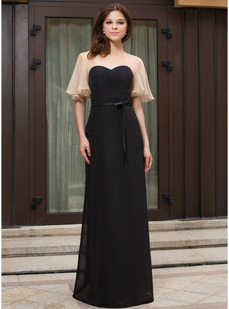 Sheath/Column Scoop Neck Floor-Length Chiffon Charmeuse Evening Dress With Cascading Ruffles