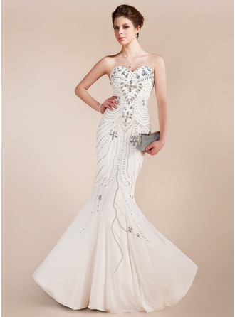 Trumpet/Mermaid Sweetheart Floor-Length Chiffon Prom Dress With Beading
