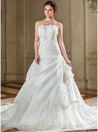 A-Line/Princess Scalloped Neck Chapel Train Taffeta Wedding Dress With Ruffle Lace Beading Sequins Bow(s) Cascading Ruffles