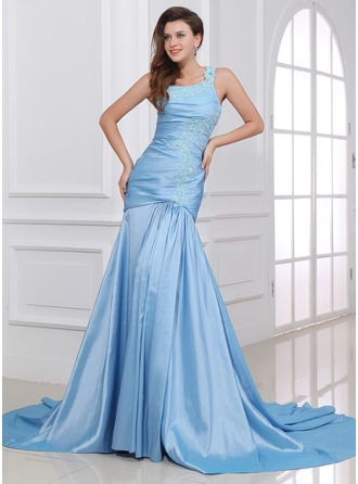 Trumpet/Mermaid One-Shoulder Chapel Train Taffeta Evening Dress With Ruffle Appliques Lace