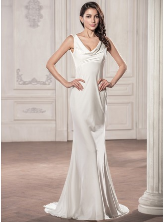 Trumpet/Mermaid Cowl Neck Sweep Train Jersey Wedding Dress