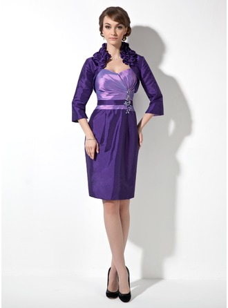 Sheath/Column Sweetheart Knee-Length Taffeta Mother of the Bride Dress With Ruffle Beading Appliques Lace