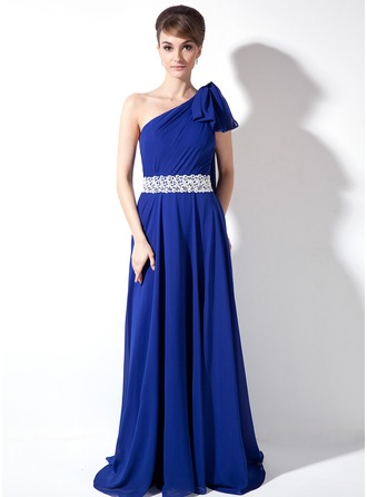 A-Line/Princess One-Shoulder Sweep Train Chiffon Holiday Dress With Ruffle Lace Beading Sequins