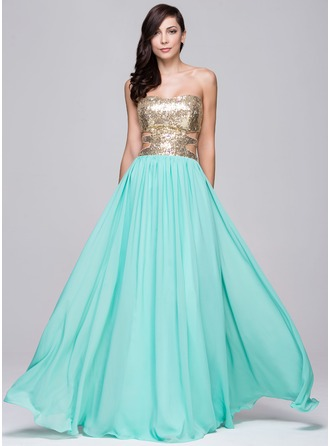 A-Line/Princess Sweetheart Floor-Length Chiffon Sequined Prom Dress With Beading