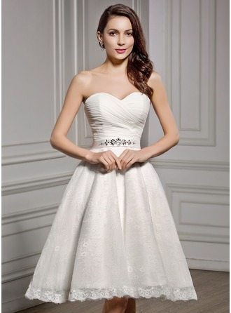 A-Line/Princess Sweetheart Knee-Length Chiffon Satin Lace Wedding Dress With Ruffle Beading Sequins