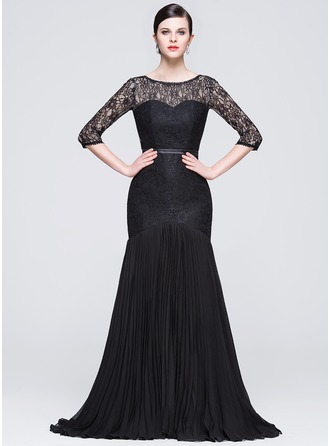 Trumpet/Mermaid Scoop Neck Court Train Chiffon Lace Evening Dress With Bow(s) Pleated