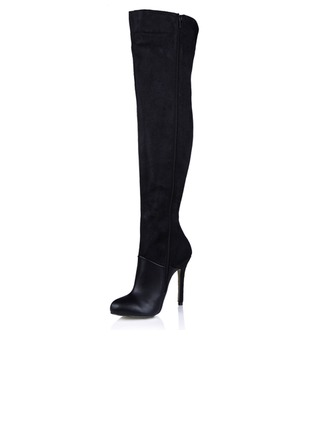 Suede Leatherette Stiletto Heel Pumps Platform Over The Knee Boots With Split Joint shoes
