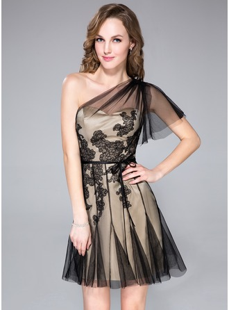 A-Line/Princess One-Shoulder Short/Mini Satin Tulle Cocktail Dress With Appliques Lace Cascading Ruffles