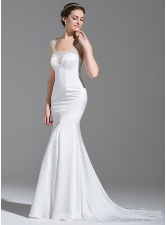 Trumpet/Mermaid Scoop Neck Court Train Satin Wedding Dress With Beading Sequins