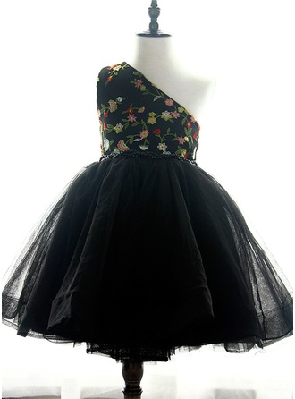 Ball Gown Knee-length Flower Girl Dress - Organza/Satin/Tulle/Lace Sleeveless One-Shoulder