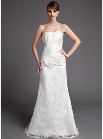 A-Line/Princess Sweetheart Court Train Satin Lace Wedding Dress With Ruffle Beading Flower(s)