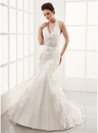 Trumpet/Mermaid Halter Chapel Train Tulle Wedding Dress With Lace Beading