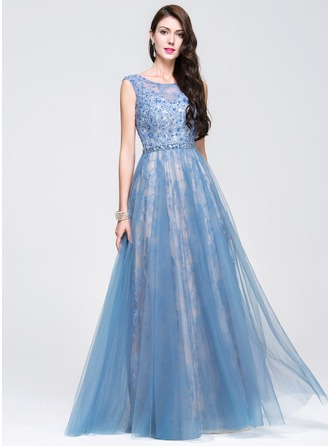 A-Line/Princess Scoop Neck Floor-Length Tulle Lace Prom Dress With Beading Sequins
